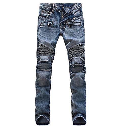 Uomo Look Blau Jeans Slim Da In Denim Streetwear Abbigliamento Fit Casual Vintage Pantaloni Stretch Jean Plissettato Cowboy RWaF8