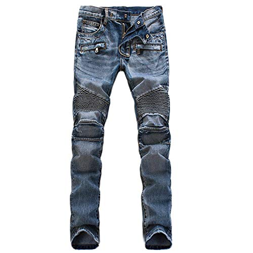 Da Vintage Cowboy Uomo In Plissettato Fit Stretch Pantaloni Jean Blau Streetwear Slim Jeans Stile Look Semplice Casual Denim dnycFWH