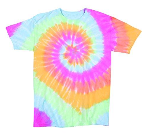Pale Pastel Ariel Rainbow Swirly Multi-Spiral Unisex Adult Tie Dye T-Shirt Tee, Multi Spiral Aerial, Medium