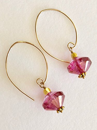 - Pink Crystal Earrings, Fuchsia Pink Saucers, Gold Metallic Detail, Premium Czech Glass, Mother's Day, Bridal, 24K Gold Vermeil, 14K Gold Fill.