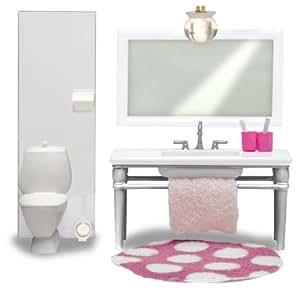 Lundby Småland 60.2049.00 - Cuarto de baño miniatura para casa de muñecas (lavabo con espejo y retrete, escala 1:18), color blanco