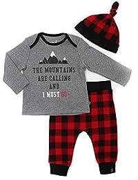 Mini Heroes - Baby Boys's 3-Piece Shirt, Pants & Hat Set, Buffalo Check