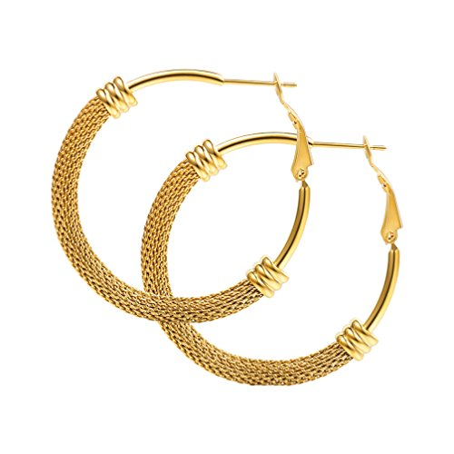(Lady Fashion Loop Earrings 18K Gold Plated Web Mesh Tube Design Hoop Earrings 40mm)