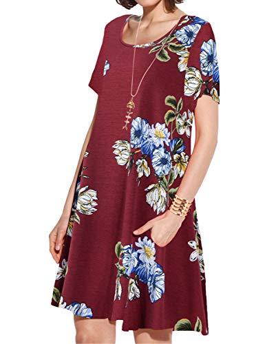 JollieLovin Women's Pockets Casual Swing Loose T-Shirt Dress (10-Wine Red, 3X)