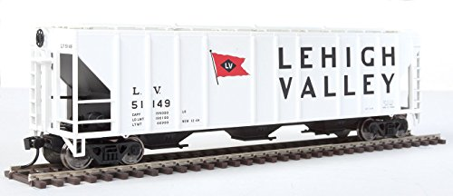 54' PULLMAN-STANDARD 4427 CD COVERED HOPPER - READY TO RUN -- LEHIGH VALLEY 51149 (WHITE, BLACK, RED W/FLAG LOGO)