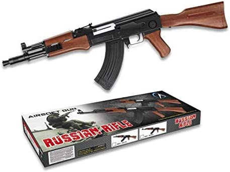 Replica AK47 Kalashnikov Counter Strike 38319 Arma Larga Airsoft Aire Suave 6 mm Potencia 0,50 Julios Airsoft Paintball Caza Supervivencia bushcraft Camping Outdoor 38319 + Portabotellas de regalo