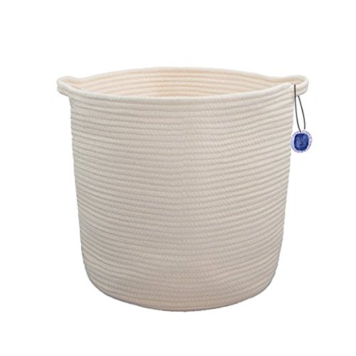 "BLUE SAGE ORGANICS ECO friendly Storage Baskets - Large 15"" x 14"" Cotton Rope Storage Bins for Organizing Toys, Baby, Kids, Laundry Bin, Woven Basket - Ivory Bins"