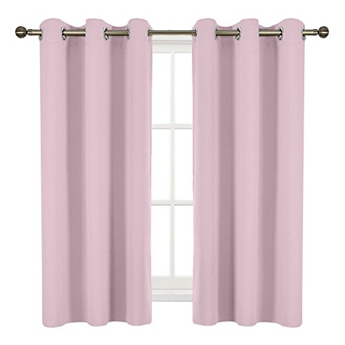 Room Darkening Blackout Window Curtains - RYB HOME Solid Silver Grommet Drapes Soundproof Energy Saving Durable Super Soft Polyester Panels for Nursery / Baby Room ( 2 Packs, 42