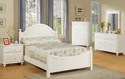 4pcs Twin Size Bedroom Set - Cape Cod Style White Finish by Poundex