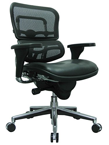 - Ergohuman Mesh Back Leather Seat Mid Back Chair Black Leather Seat/Black Mesh Back/Chrome Aluminum Base Dimensions: 26.5