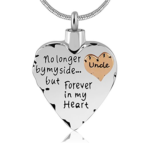 Game Pendant - No Longer by My Side But Forever in My Heart Memorial Cremation Necklace for Mom,Dad,Pet Ashes Urn Pendant (Uncle)