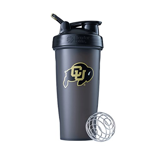 BlenderBottle Collegiate Classic 28-Ounce Shaker Bottle, University of Colorado Buffaloes - Grey/Black -