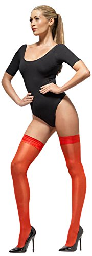Fever Women's Sheer Shine Hold-Ups with Silicone Band, Red, One size,5020570038505 (Sexy Nude Halloween Costumes)