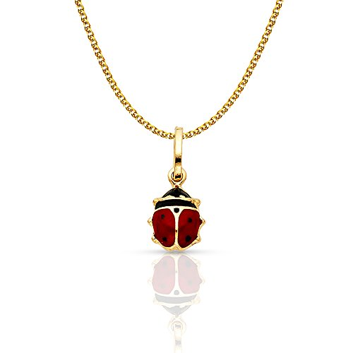 14K Yellow Gold Lady Bug Colored Enamel Lucky Charm Pendant with 1.2mm Flat Open Wheat Chain Necklace - -