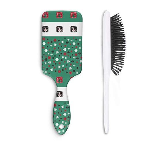 (Chal Hoiy Boar Bristle Paddle Hairbrush Merry Christmas Tree Snowflakes Cushion Hair Brush for Straightening, Styling & Drying, Designed for Women Men Kids Girls)