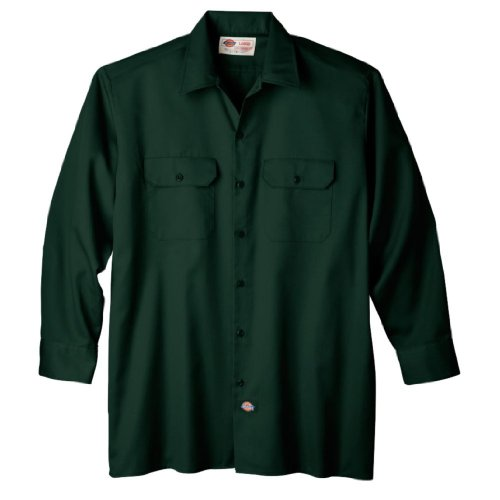 Dickies Men's Long Sleeve Work Shirt, Hunter Green, Large