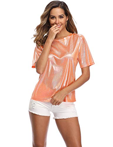 Wudodo Shiny Tops for Women Ultra Soft Loose Holographic Glitter Metallic Short Sleeves Print Blouse Hip Hop T-Shirt Orange Medium - Metallic Knit Tank
