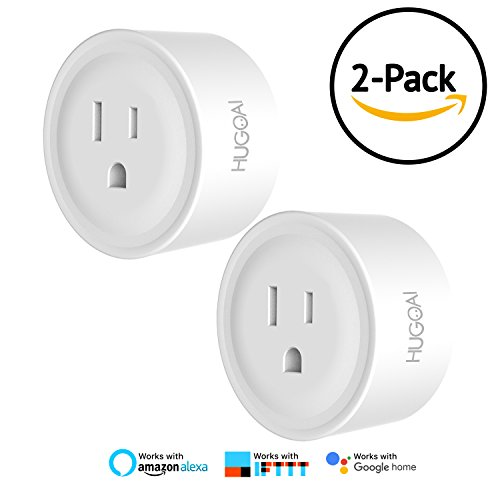 WiFi Smart Outlet, HUGOAI Mini Smart Plug 2 Pack, Compatible with Alexa & Google Home/IFTTT, APP Remote Control from Anywhere, No Hub Required, Wifi Enabled Voice Control Smart Socket