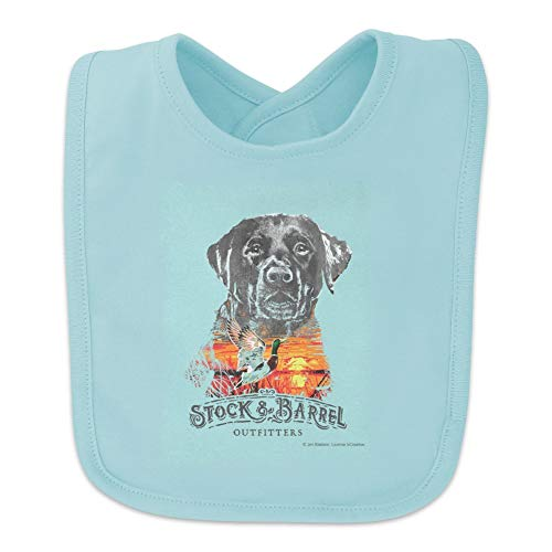 (Stock and Barrel Outfitters Lab Duck Hunting Baby Bib - Blue)