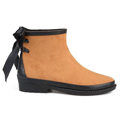 Brinley Co Womens Botan Faux Suede Bow Ankle Rainboots Tan