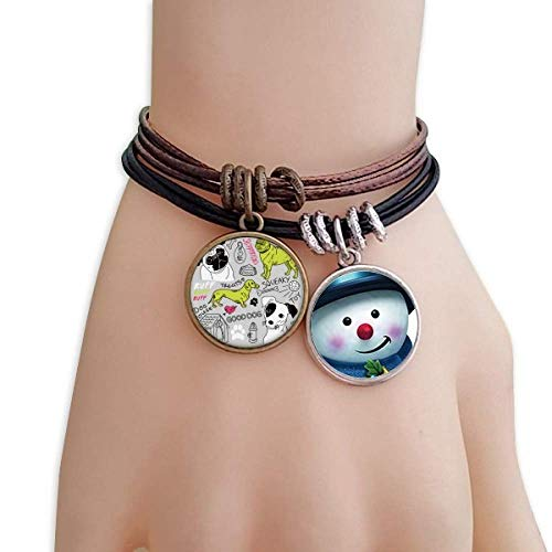 DIYthinker Cartoon Dog Text Toy Illustration Pattern Snowman Leather Rope Bracelet Handmade ()