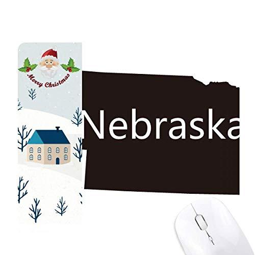 - Nebraska America USA Map Silhouette Santa Claus House Mouse Pad Gift