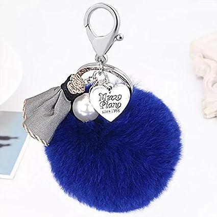 Plush Ball Key Chain For Car Key Ring Or Bags Light Blue