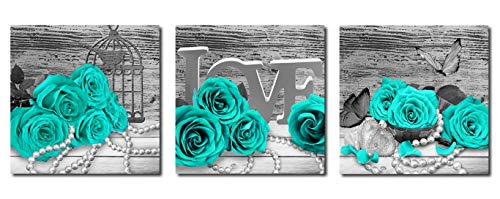 Rtriel Turquoise Rose Canvas Wall Art Teal Blue Green Flowers Prints Black and White Floral Pictures for Bathroom Bedroom Home Decor 12 x 12 Inches 3 Pieces (Decor Teal Bedroom Blue)