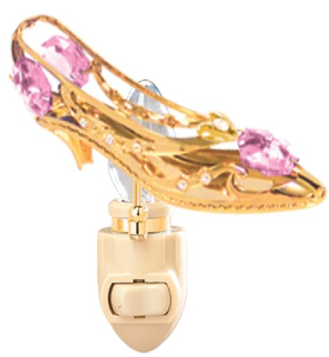 MASCOTUSA Happy Mother's Day - 24k Gold Plated Shoe/Heart Night Light with Pink Swarovski Crystal Element