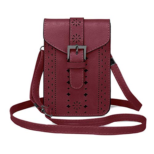 WOZEAH Roomy Pockets Series Small Crossbody Bag Cell Phone Purse Wallet For Women (1 wine red)