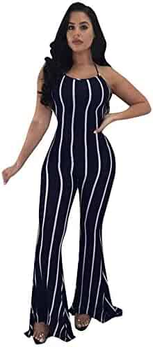 e8dba31c6 Women's Sexy Spaghetti Strap Striped High Waist Wide Leg Long Pants Palazzo Jumpsuit  Rompers Ladies Outfits