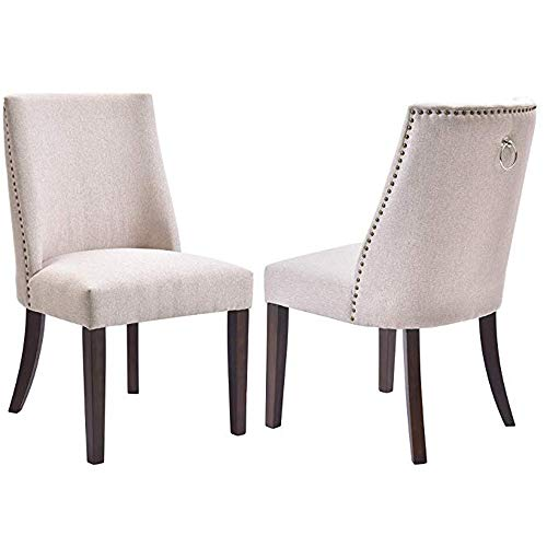 Hommoo Kitchen Dining Chairs, Set of 2 Fabric Upholstered Dining Room Chairs with Solid Wood Legs, Nailhead Trims - Beige