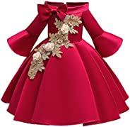 Floral Kids Girls Bow Dress Princess Bridesmaid Pageant Gown Birthday Party Wedding Dress 2-10 Years