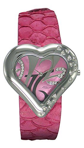 Moog Paris Heart Saint Valentine Women's Watch with Pink Mother of Pearl Dial, Pink Genuine Leather Strap & Swarovski Elements - M44334-002