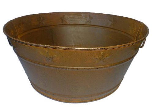 Craft Outlet Rusty Tin Pan with Embossed Star, 10-Inch (Rusty Bucket)