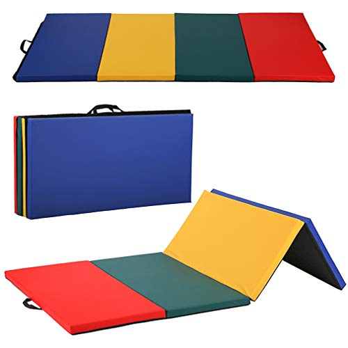 BestMassage Gymnastics Mat Gym Mat Tumbling Mat 4 Pannel Foldding Gymnastic Tumbling Mat 4'x8'x2 Thick Fitness Yoga Exercise Mat Lightweight Home Gym Mat Carrying Handles