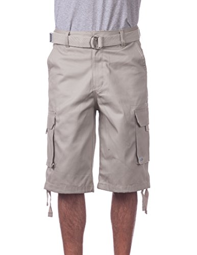 Long Inseam Shorts (Pro Club Men's Cotton Twill Cargo Shorts With Belt, 40