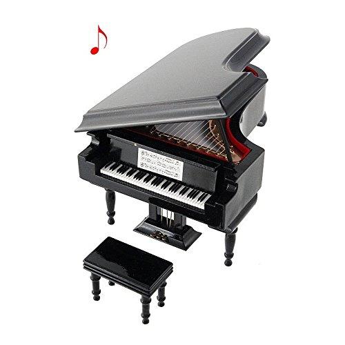 2503–25042-piano di coda decorativo miniatura in legno 18Centimetros. Scatola di musica. Con Astuccio.