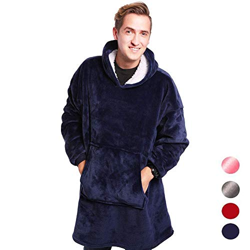 Kklak Pocket Lazy Cappuccio Gigante Huggle blue Super Felpa Large Tv Felpa Soft Coperta Warm Con rZOqwYrxC