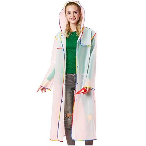 (Suroomy Unisex Packable Men Women Long EVA Thick Rainwear Universal Rain Coat Waterproof Poncho Hiking Tour Raincoat Hooded (White, XL) )