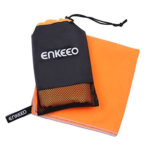 Enkeeo Microfiber Camping Towel with 1 Hanging Snap Loop, 1 Mesh Bag, Quick Dry and Versatile, Great for Gym, Exercise, Travel, Beach, Sports, Hiking, Swimming, Backpacking, Orange