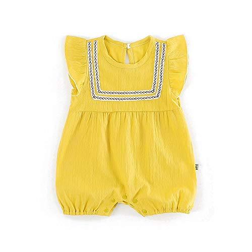 429a2eac1e3dc Baby nest ベビー服 夏 ノースリーブ ロンパース フォーマル 肌着 コットン かわいい 女の子 通園 通学 黄色 3-