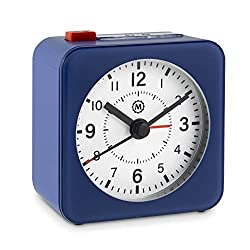 Marathon Mini Travel Alarm Clock, Silent Sweep, No Ticking, Auto Back Light and Snooze Function - CL030065BL-WH2 (Blue Case/White Dial)