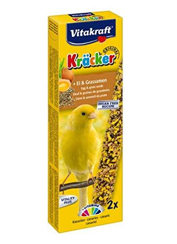 Vitakraft KRÄCKER® ORIGINAL - CANARY + EGG & GRASS SEED - 60G - CAGE BIRD TREAT (3X) LEEWAY