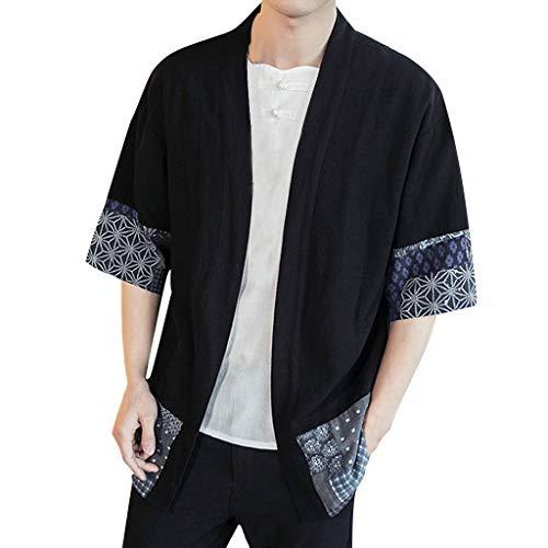 Yucode Men Summer Loose Cotton Linen Printing Patchwork Three Quarter Sleeve Cardigan Blouse Tops