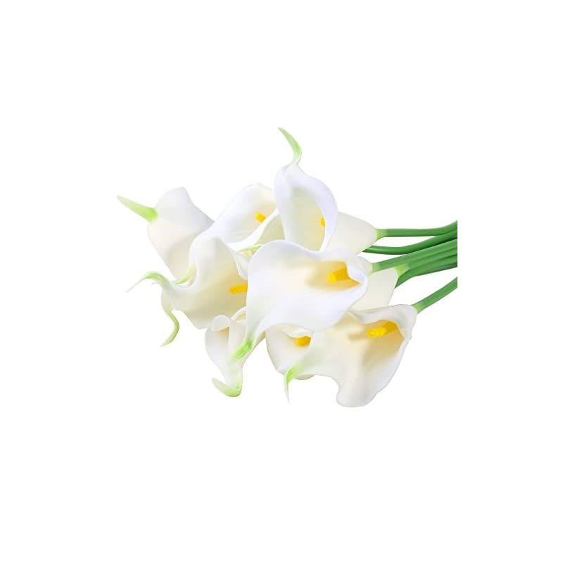 silk flower arrangements starlifey calla lily bridal wedding bouquet head lataex real touch flower bouquets pack of 10 (white)