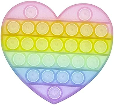 Bubble Popping Sensory Toy – Bubble Pop Fidget Toy – Pastel Rainbow Heart – Stress Relief Toys for Girls and Boys – Toddlers & Kids – Autism Special Needs Stress Reliever Calming Push Popper Game