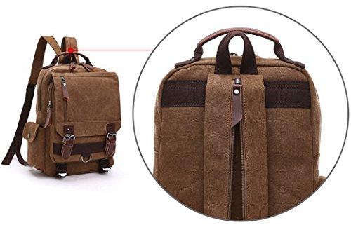 Feoya Unisex Rucksack Canvas Damen Schultasche Herren Reisetasche Vintage Schulrucksack Freizeittasche Outdoor Backpack Men and Women Schoolbag 23.5x8.5x31.5cm - Braun Braun