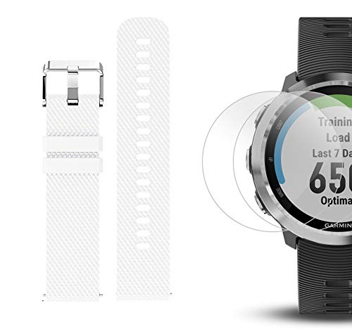 Garmin Forerunner 645 Bundle with Extra Band & HD Screen Protector Film (x4) | Running GPS Watch, Wrist HR, LiveTrack, Garmin Pay (Stainless, White) by PlayBetter (Image #6)