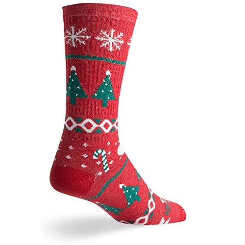 SockGuy Wool Crew 6in Sweater Red 3 Limited Edition Holiday Cycling/Running Socks (Sweater Red 3 - S/M) (Wool Cycling Sweater compare prices)